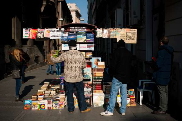 Aleksandar Obradovic sells comics, vinyl and books from his kiosk