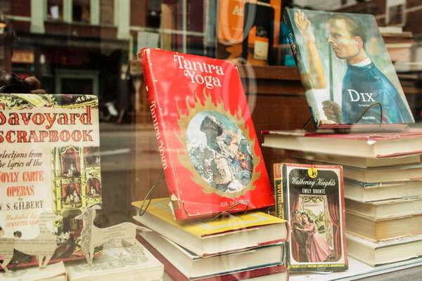 Vintage books in the Vancouver shop's window display