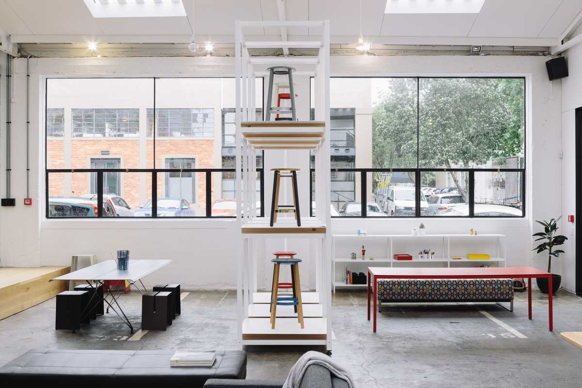 Design firm IMO's showroom in a former industrial space near the port