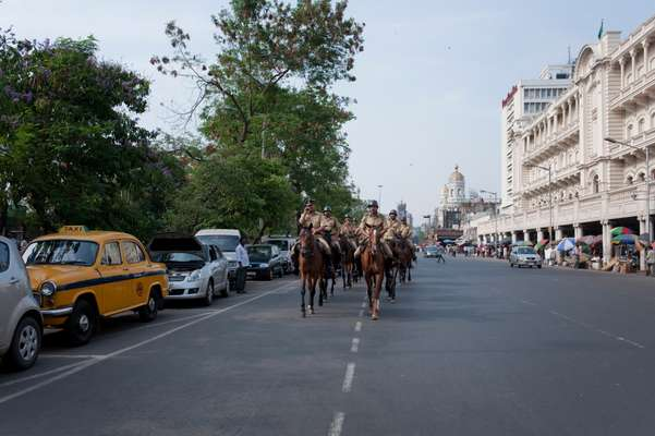 Police patrolling on Nehru Road