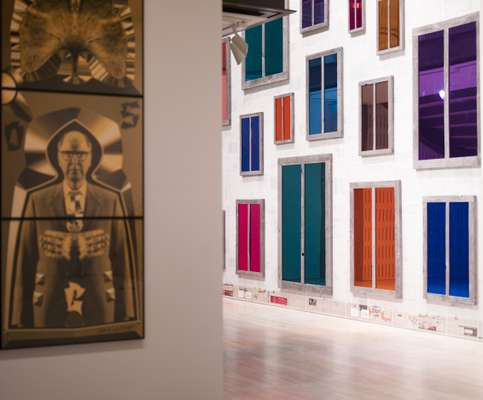 Gilbert & George, 'Dig' (left), and Ugo Rondinone, 'Clockwork for Oracles' (right)