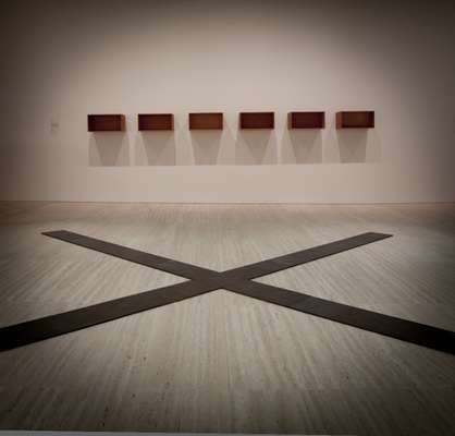 Carl Andre, 'Crucis' (front), and Donald Judd, 'Untitled' (rear)