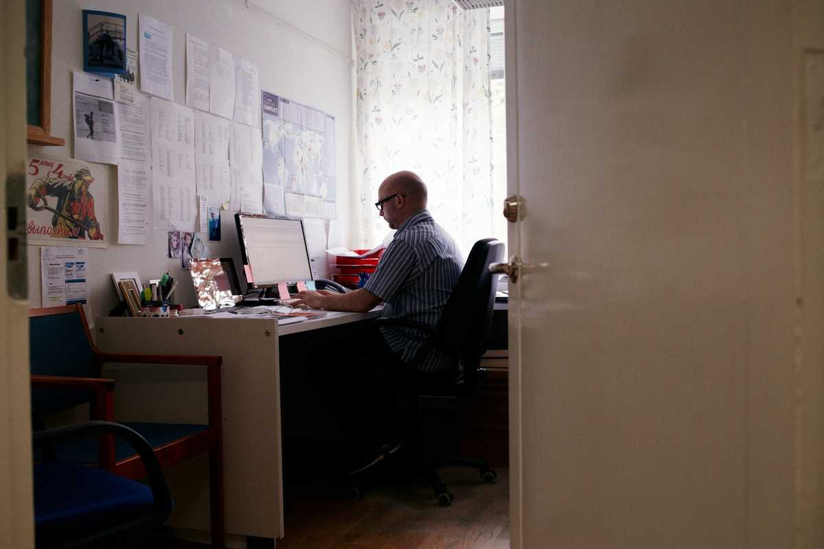 Paul Holtom, director of the Arms Transfers Programme, in his office