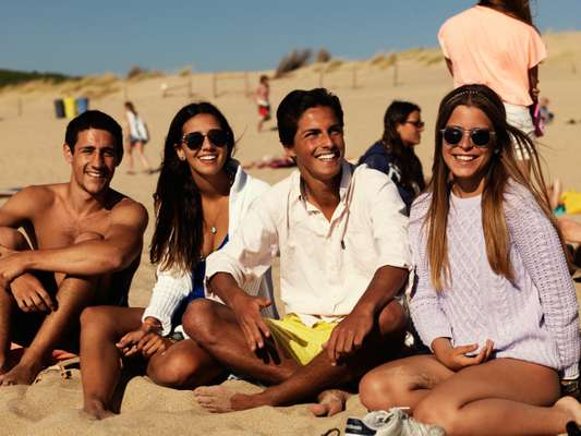 Locals enjoying the weekend sunshine at Guincho Beach