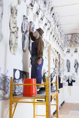 Peter Schumann works on his first museum show