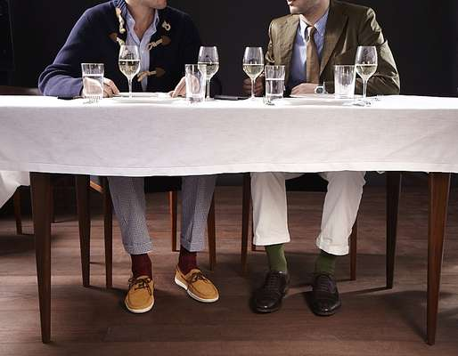 Left: cardigan by Hackett, shirt by Richard James, trousers by Boss Black, socks by Falke, shoes by Tod's  Right: jacket by Junya Watanabe Man, shirt by Polo Ralph Lauren, tie by Prada, watch by Hermès, trousers by Barena, socks by Falke, shoes by John Lobb