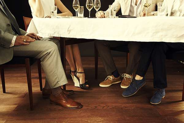 Left: trousers by Richard James, socks by Tabio, shoes by Ermenegildo Zegna  Right: shoes by Giuseppe Zanotti