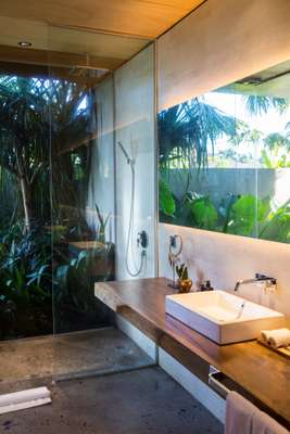Bathroom, complete with a green view
