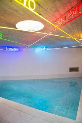 Patrick Tuttofuoco's installation 'Map 0.1' above the pool