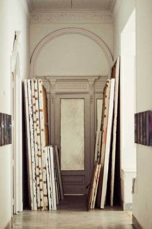 Upstairs corridor in Rachel Valdés Camejo's studio