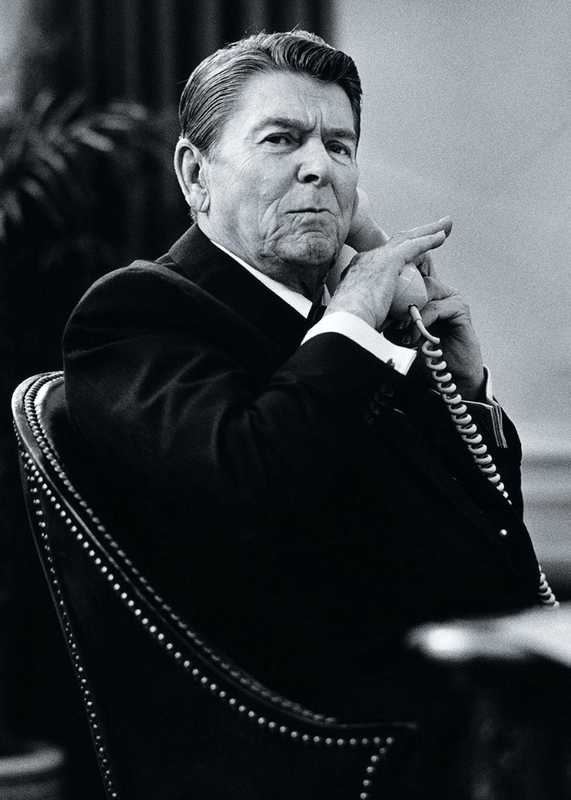 Reagan taking a call