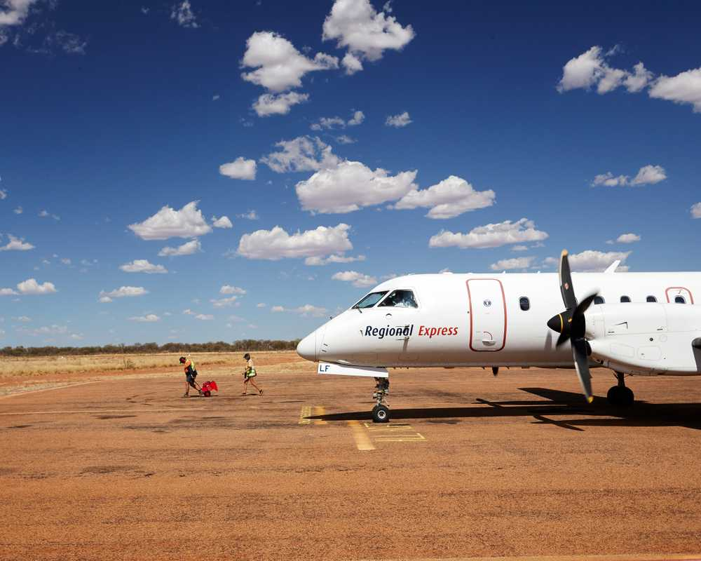 The Saab 340 on teh ground at Windorah on a hot summer day