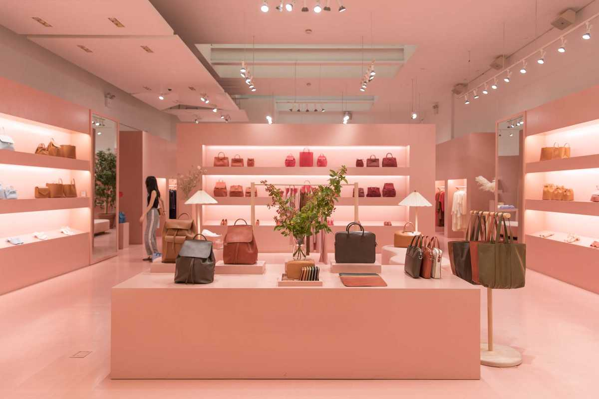 Interior of Mansur Gavriel's Wooster Street shop