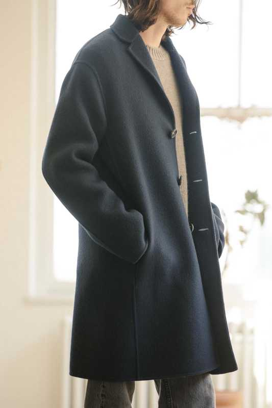 Cashmere coat and crewneck sweater