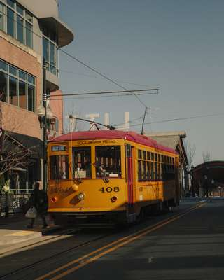 Metro Streetcar travelling through River Market