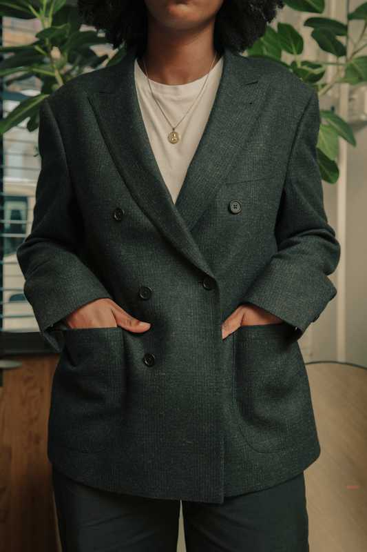 Wool-and-cashmere double-breasted sport coat