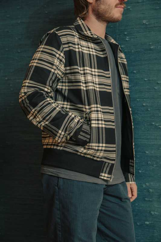 Tartan  plaid bomber jacket in utility twill