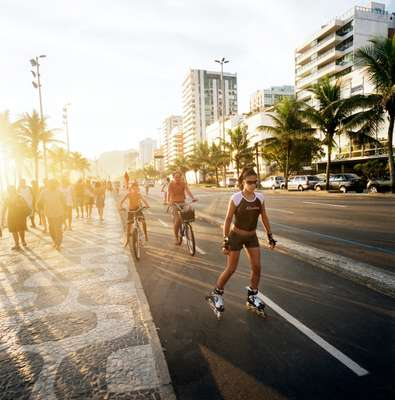 Rollerblading along the Ipanema promenade
