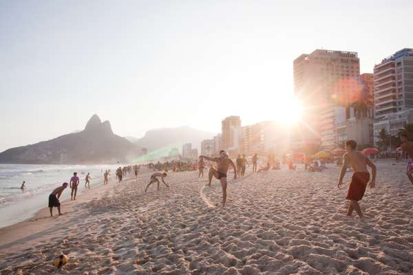 Beach football is a common sight on Rio's beaches