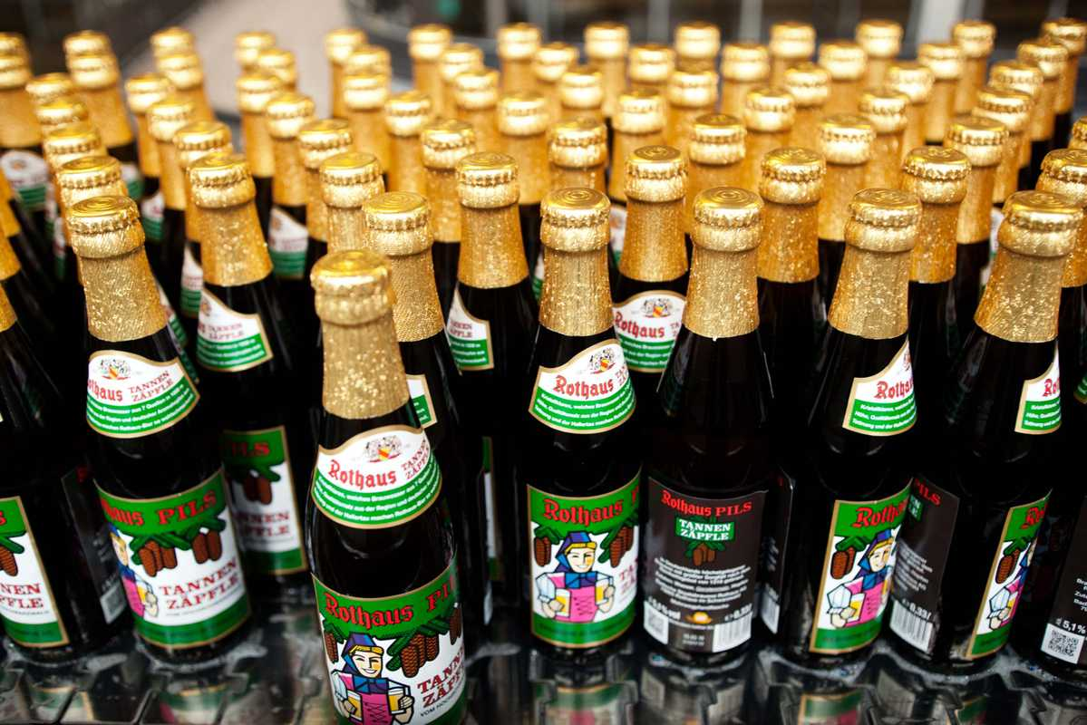 Bottles of Rathaus beer