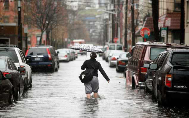 15 April 2007: flooded streets of Hoboken, New Jersey