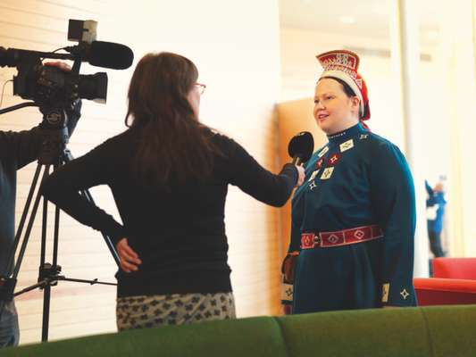 Tiina Sanila-Aikio, member of the Finnish Sámi parliament, being interviewed