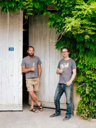 Purcell (left) and Chris Santini outside their 'cuverie'