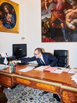 From his office in Palazzo Begni Nicola Renzi orchestrates a foreign policy longer on pens than swords