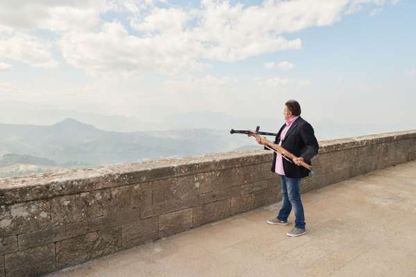 Stefano Ugolini, chairman of the Crossbow Corps, takes aim