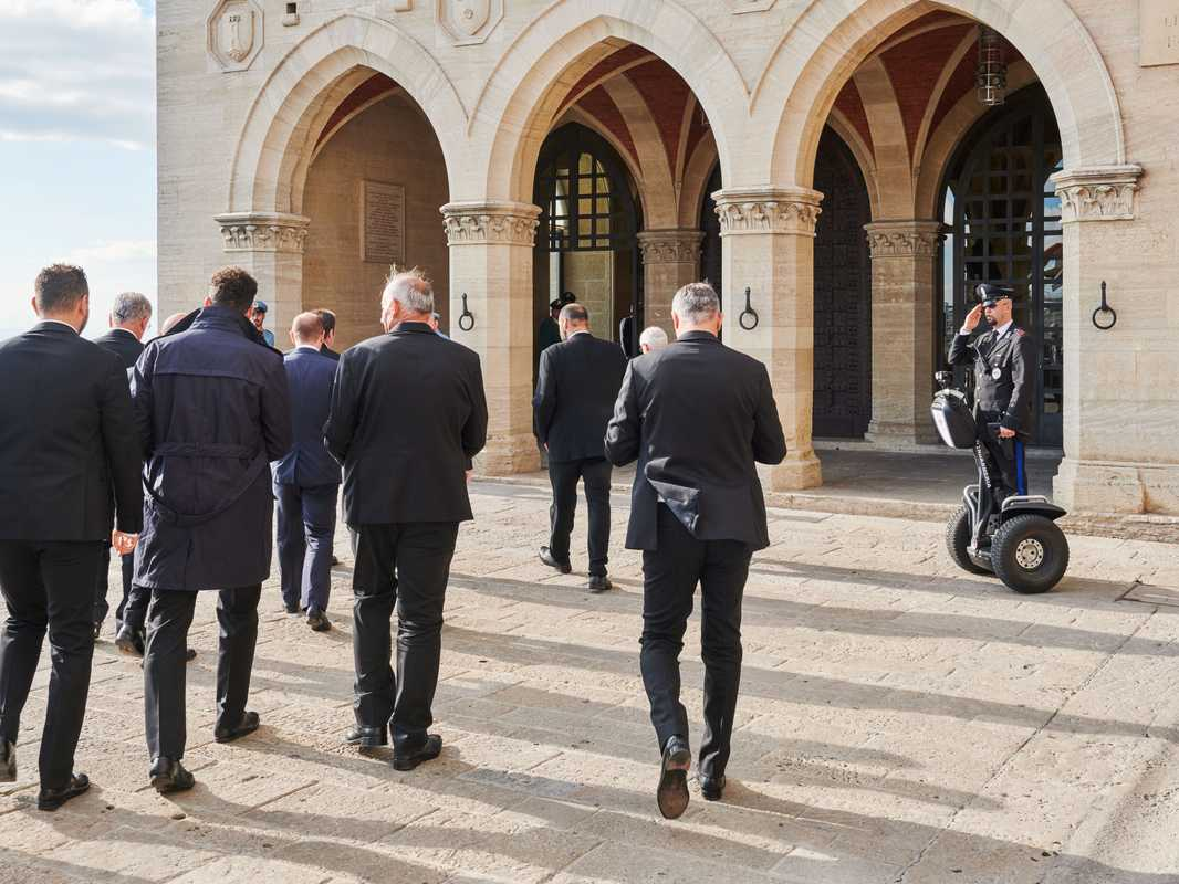 Grandees from Fifa, football's governing body, arriving at the Palazzo Pubblico