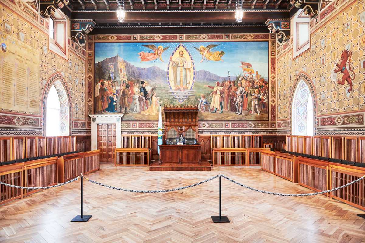 Meeting room of the Grand and General Council inside the Palazzo Pubblico