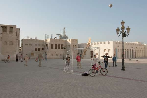 Maider Lopez's football pitch installation makes an incongruous intervention on the Museum's courtyard