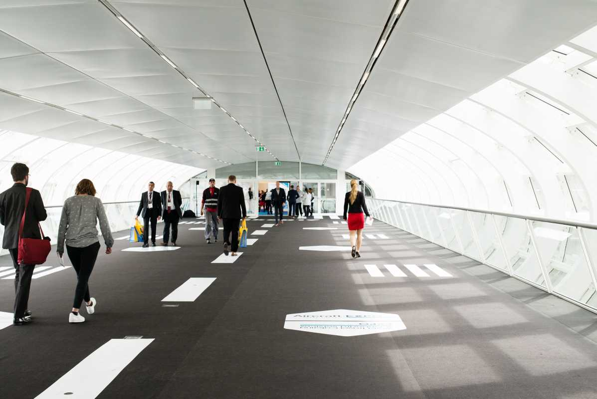 Runway-themed skybridge between the AIX and WTCE
