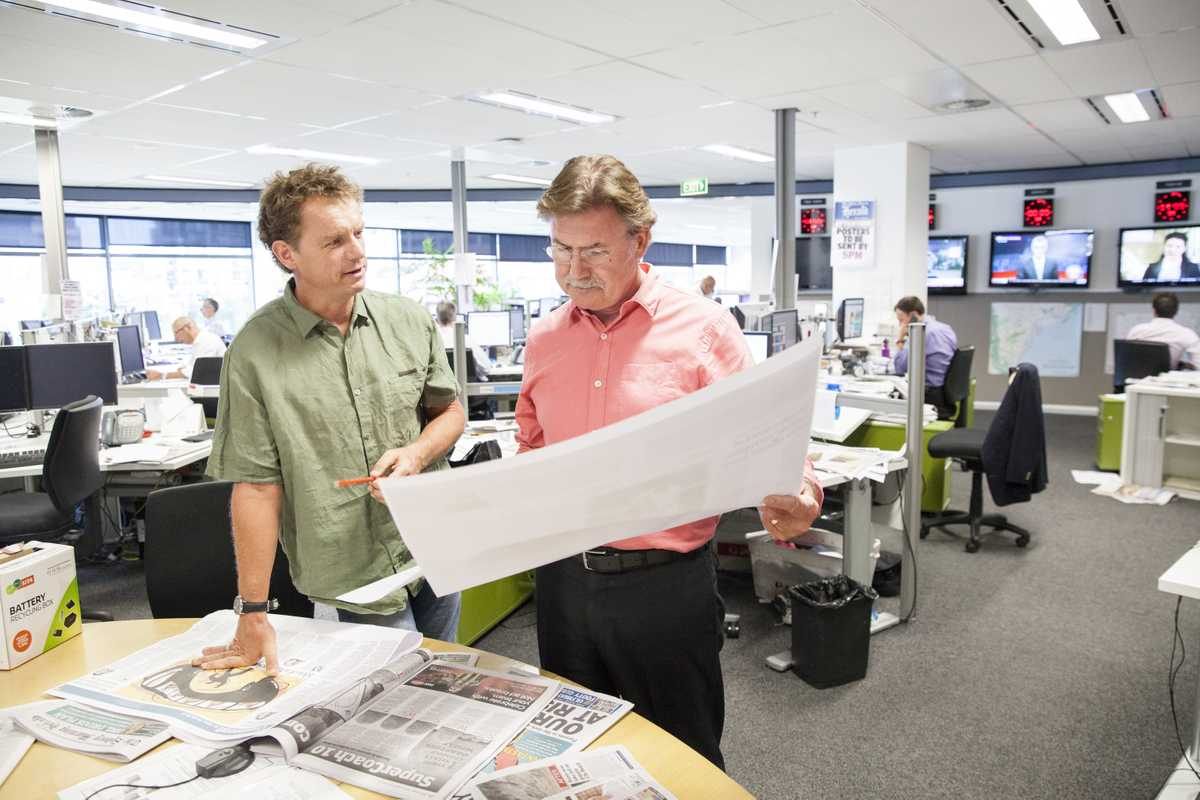 Richard Woolveridge (right), weekday print editor of the 'Sydney Morning Herald'