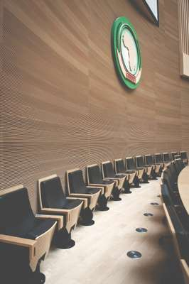 Plenary hall with African Union crest mounted on wall