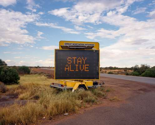 A recurring road-safety campaign implores drivers  to 'stay awake, stay alive'