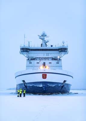 The 'IB Kontio', docked in a floe in the Bay of Bothnia