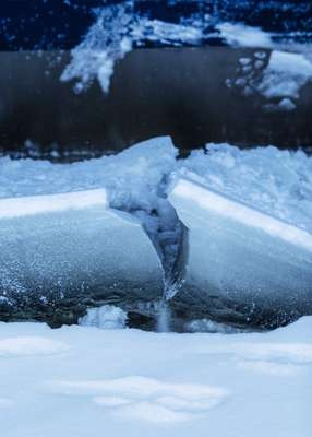 Toughing it out: The ice that 'Kontio' breaks can have the thickness and texture of chunky concrete slabs