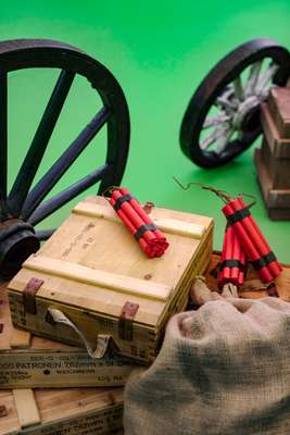 Studio props used in a virtual western setting