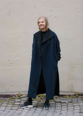 Elisabeth Stray Pedersen in one of her coats