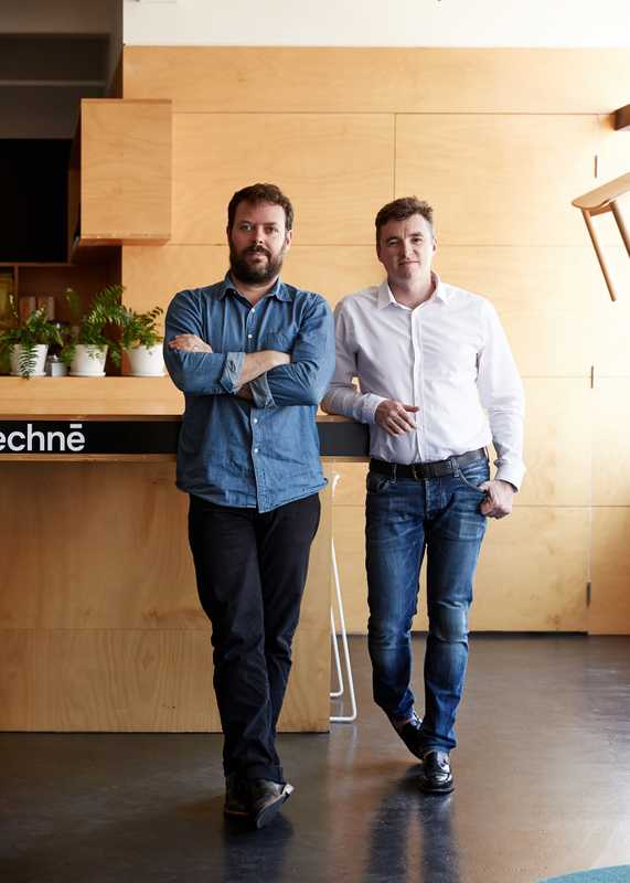Directors Justin Northrop (left) and Nick Travers in their Melbourne studio
