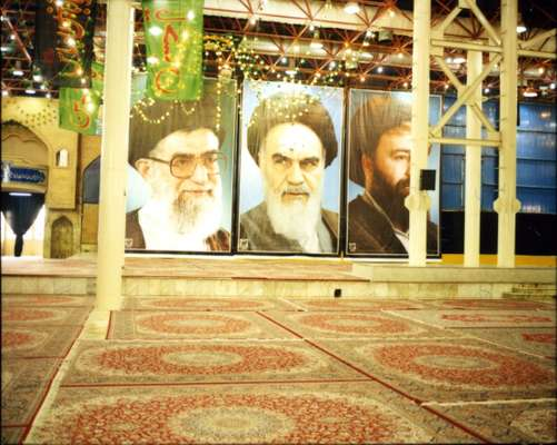 Posters of Ayatollah Khomeini in the Iman Khomeini mosque in Tehran
