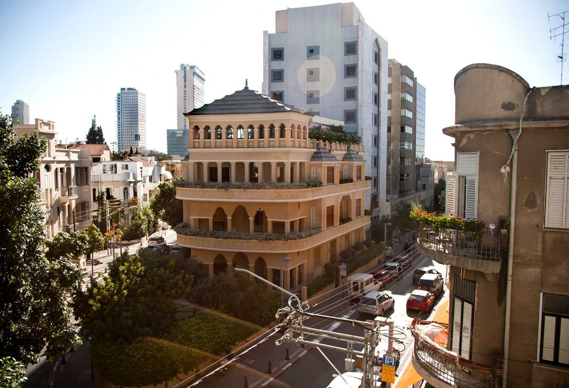 Montifiores' well known 'pagoda-house' and downtown Neve Tzedek