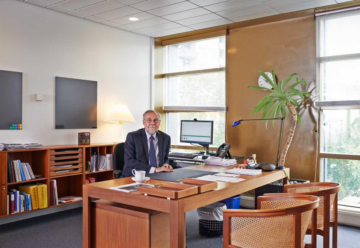 Grube in his office located below the official diplomatic residence