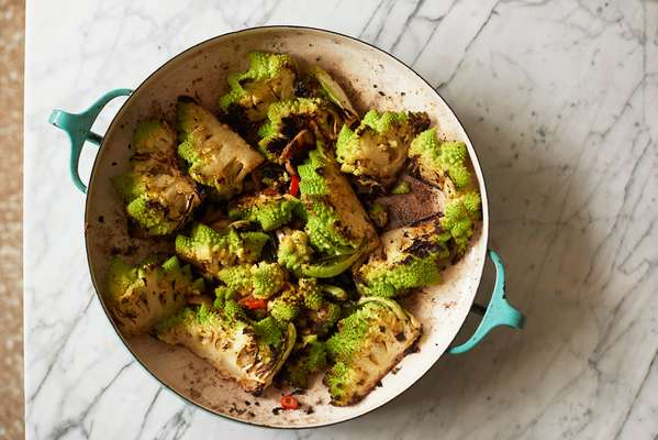 Roasted romanesco broccoli with confit garlic oil, aleppo pepper and lemon zest