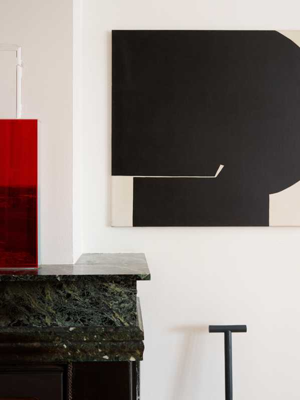 "*Red perspex piece:* by Copenhagen artist, Ebbe Stub Wittrup.  *Painting:* by Kai Führer. ""My ex-wife gave this to me on our wedding day. He was a modernist, active in the 1950s and '60s."""