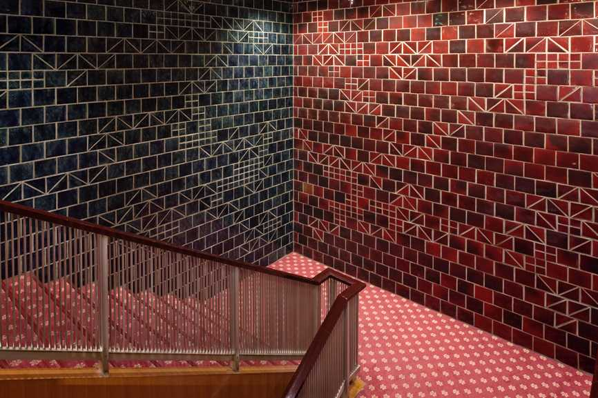 Tiles on the staircase; every decorative detail in the main wing was carefully chosen and many featured traditional Japanese motifs