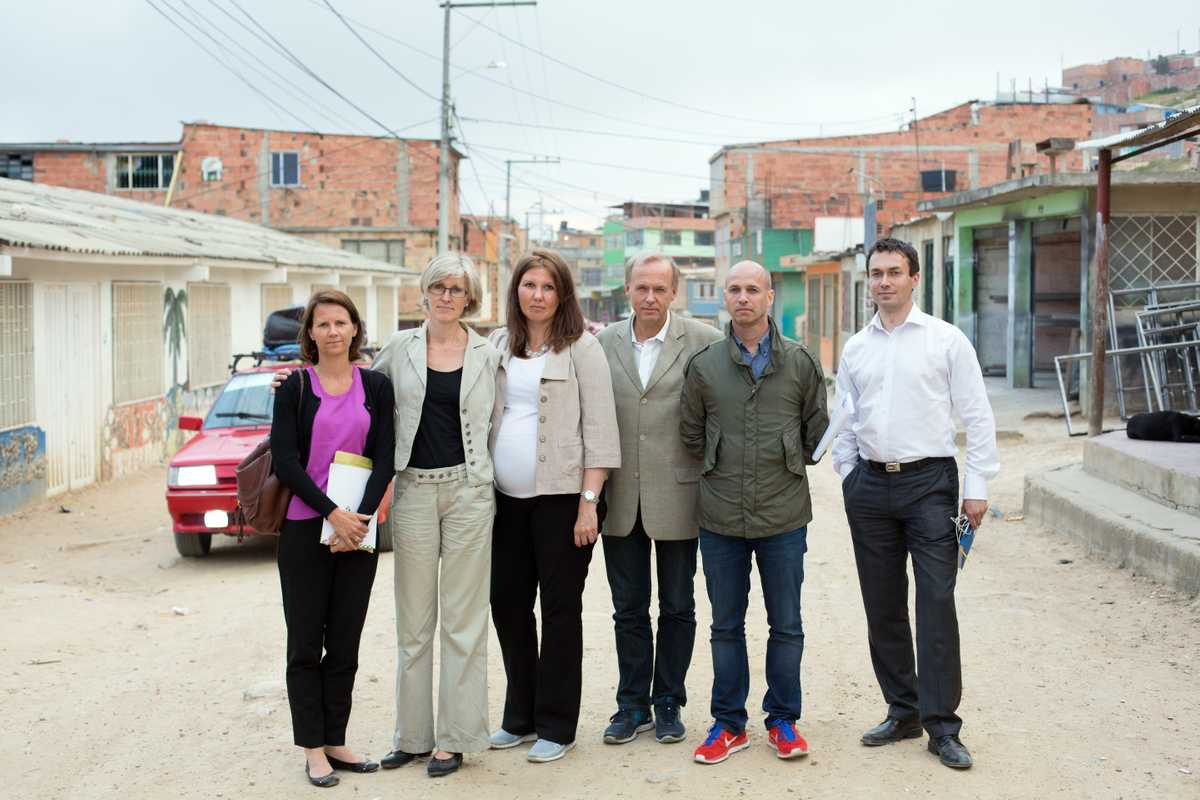 The Norwegian team in Colombia (left to right): Trine Heimerback, senior adviser; Hilde Salvesen, humanitarian adviser; Gry Larsen, deputy foreign minister; Lars Vaagen, Norwegian ambassador to Colombia; Dag Halvor Nylander, special envoy; Ole Reidar Bergum, senior adviser
