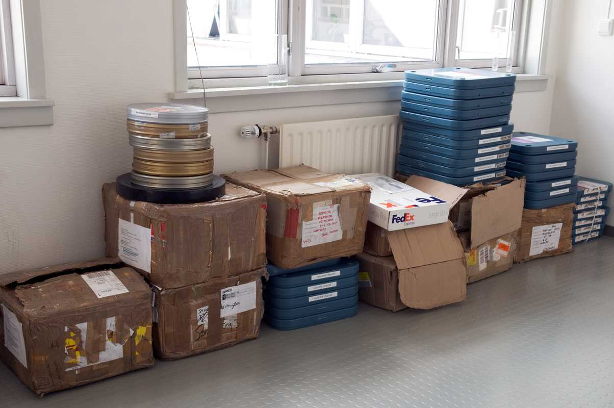 Reels of film ready to be vetted at the Norwegian Film Institute