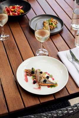 River trout with blackberries